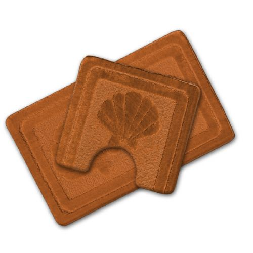 LUXURY 2 PIECE NON SLIP BATH MAT & PEDESTAL TERRACOTTA COLOUR